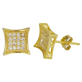 Decadence 18k Goldplated Sterling Silver Micropave Cubic Zirconia Concave Square Stud Earrings