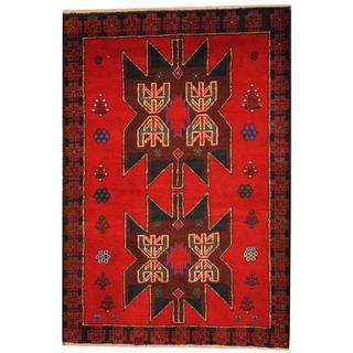 Herat Oriental Semi-antique Afghan Hand-knotted Tribal Balouchi Red/ Navy Wool Rug (2'9 x 4'1)