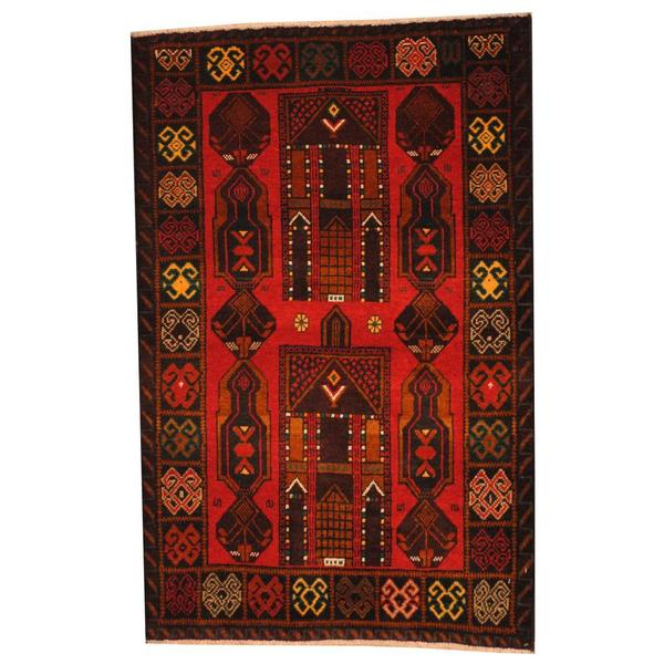 Herat Oriental Afghan Hand-knotted 1950s Semi-antique Tribal Balouchi Wool Rug - 2'10 x 4'5