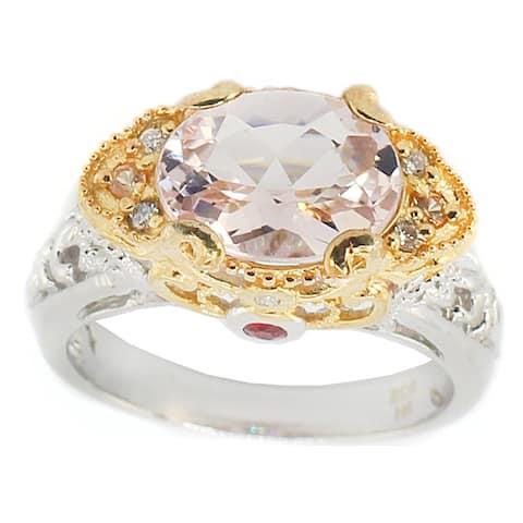 Michael Valitutti Palladium Silver Morganite And Pink Sapphire Ring
