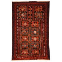 Handmade Herat Oriental Semi-antique Afghan Tribal Balouchi Navy/ Red Wool Rug - 2'9 x 4'8 (Afghanistan)