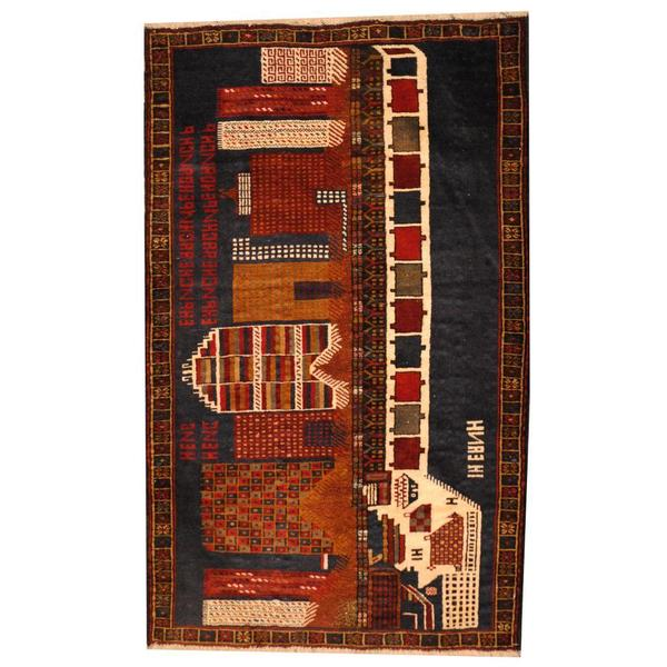 Herat Oriental Afghan Hand-knotted 1950s Semi-antique Tribal Balouchi Wool Rug (2'9 x 4'5)