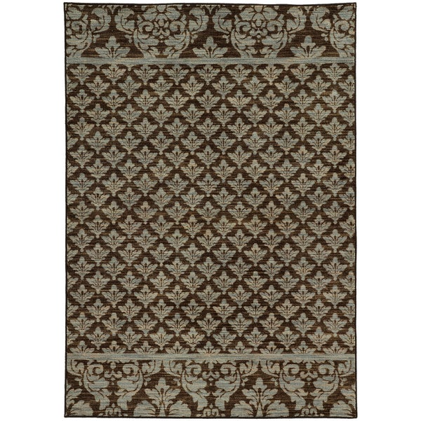 Damask Floral Brown/ Blue Rug (6'7 X 9'6)