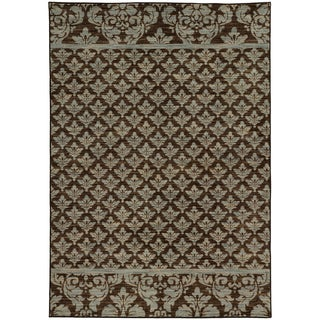Damask Floral Blue/ Brown Rug (5'3 X 7'6)