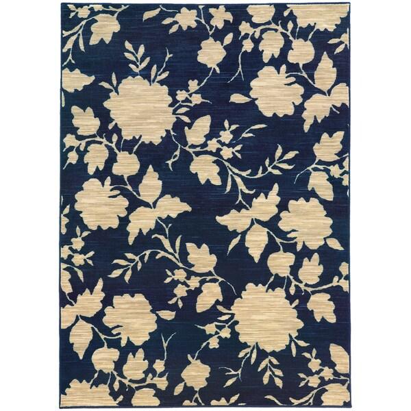 Floral Relief Blue/ Beige Rug - 9'10 x 12'10