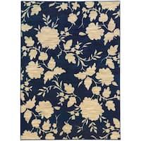 Floral Relief Blue/ Beige Rug - 7'10 X 10'10