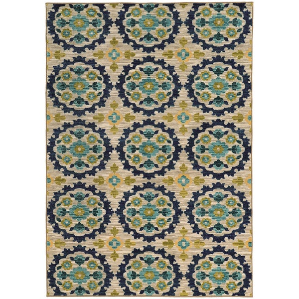 Panel Floral Beige/ Blue Egyptian Rug - 7'10 X 10'10