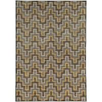 Geometric Chevron Grey/ Gold Rug (7'10 X 10'10)