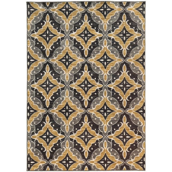 """Floral Panel Lattice Charcoal/ Gold Rug (9'10 X 12'10) - 9'10"""" x 12'10"""""""