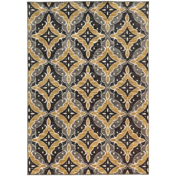 "Floral Panel Lattice Charcoal/ Gold Rug (9'10 X 12'10) - 9'10"" X 12'10"""