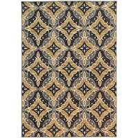 Floral Panel Lattice Charcoal/ Gold Rug (9'10 X 12'10)