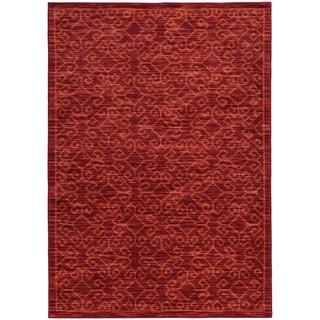 Tribal Ikat Red/ Orange Rug (9'10 X 12'10)