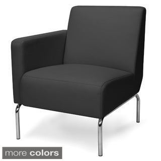 Triumph Series Right Arm Modular Lounge Chair with Polyurethane Seat and Chrome Feet