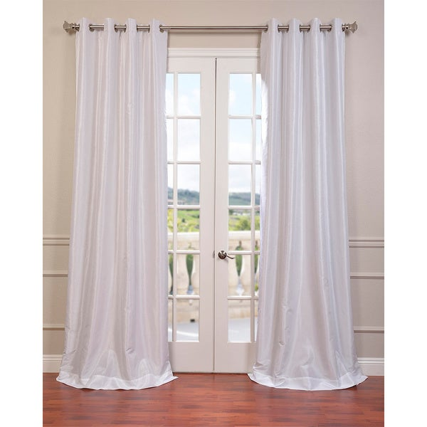 Exclusive Fabrics Textured Dupioni Faux Silk 108 Inch Blackout Grommet Curtain Panel 50 X