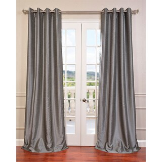 Exclusive Fabrics Textured Dupioni Faux Silk 108-inch Blackout Grommet Curtain Panel