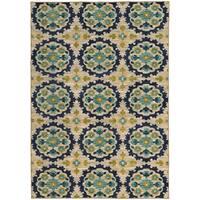 """Panel Floral Beige/ Blue Rug (3'3 X 5'5) - 3'3"""" x 5'5"""""""