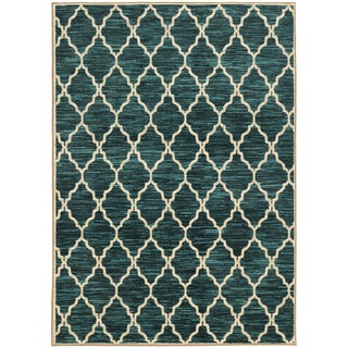 Scalloped Lattice Teal/ Ivory Rug (3'3 X 5'5) (As Is Item)