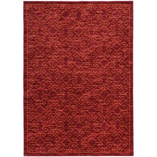 Tribal Ikat Red/ Orange Rug (5'3 X 7'6)