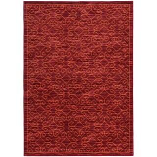 Tribal Ikat Red/ Orange Rug (6'7 X 9'6)