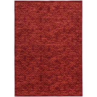 "Tribal Ikat Red/ Orange Rug (6'7 X 9'6) - 6'7"" x 9'6"""