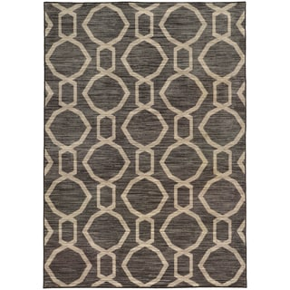Geometric Chain Grey/ Beige Rug (6'7 X 9'6)