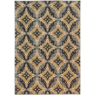 Floral Panel Lattice Charcoal/ Gold Rug (5'3 X 7'6)