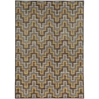 Geometric Chevron Grey/ Gold Rug (6'7 X 9'6)
