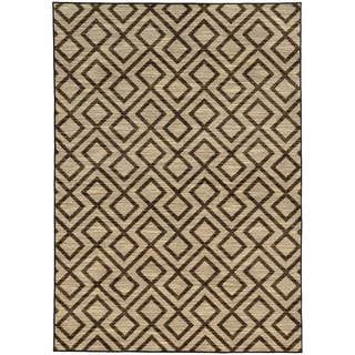 Tribal Geometric Beige/ Brown Rug (5'3 X 7'6)