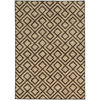 Tribal Geometric Beige/ Brown Rug (6'7 X 9'6)