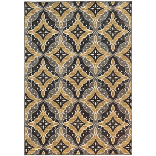 "Floral Panel Lattice Charcoal/ Gold Rug (3'3 X 5'5) - 3'3"" x 5'5"""