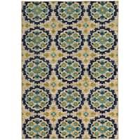 Panel Floral Beige/ Blue Rug (6'7 X 9'6)
