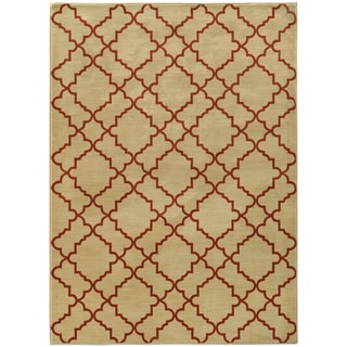 Scalloped Lattice Beige/ Rust Rug (6'7 X 9'6)