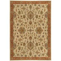 Traditional Floral Beige/ Rust Rug - 5'3 x 7'6