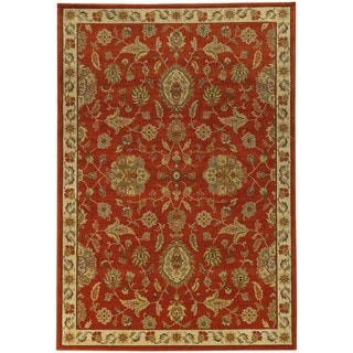 Traditional Floral Red/ Beige Rug (5'3 X 7'6)