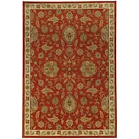 Traditional Floral Red/ Beige Rug - 6'7 x 9'6