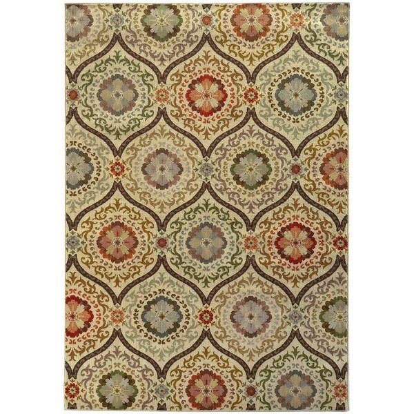 "Floral Panel Lattice Beige/ Blue Rug (6'7 X 9'6) - 6'7"" x 9'6"""