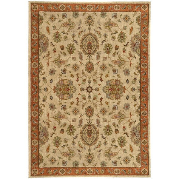 """Traditional Floral Beige/ Rust Rug (7'10 X 10'10) - 7'10"""" x 10'10"""""""