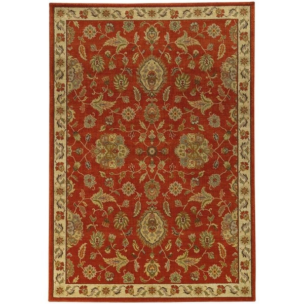 Traditional Floral Red/ Beige Rug (7'10 X 10'10)