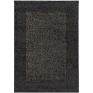 Two-tone Border Shag Midnight/ Grey Rug (5'3 X 7'6)