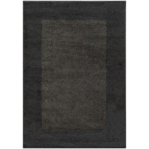 Two Tone Border Shag Midnight Grey Rug 5 3 X 7 6 Free