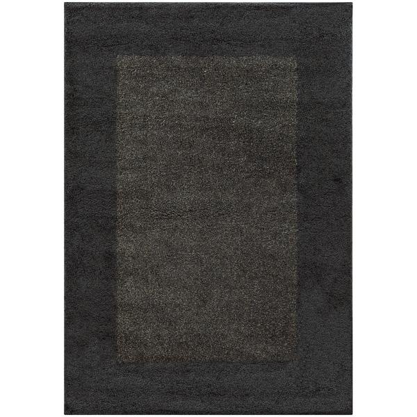 "Two-tone Border Shag Midnight/ Grey Rug (6'7 X 9'6) - 6'7"" x 9'6"""