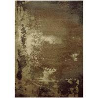 """Abstract Shag Tan/ Grey Rug (6'7 X 9'6) - 6'7"""" x 9'6"""""""