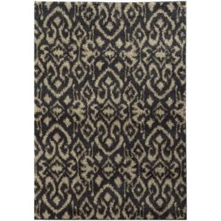 Ikat Shag Midnight/ Beige Rug (6'7 X 9'6)