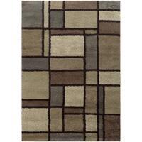 """Geometric Block Shag Beige/ Midnight Rug (6'7 X 9'6) - 6'7"""" x 9'6"""""""