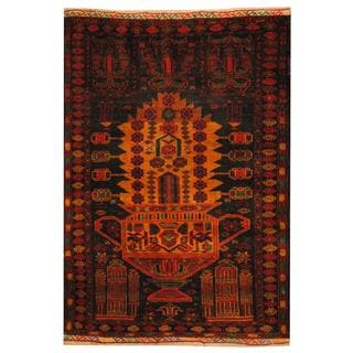 Herat Oriental Afghan Hand-knotted 1950s Semi-antique Tribal Balouchi Wool Rug (2'9 x 3'10 )
