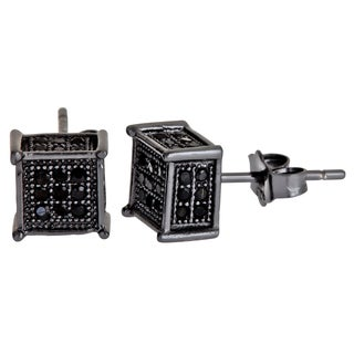 Decadence Sterling Silver Black Micropave Cubic Zirconia Cube Stud Earrings