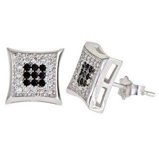 Decadence Sterling Silver Black/ White Micropave Cubic Zirconia Pinched Square Stud Earrings