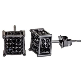 Decadence Sterling Silver Square Micropave Black Cubic Zirconia Stud Earrings