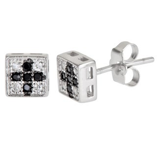 Decadence Sterling Silver Black/ White Micropave Cross Cubic Zirconia Square Stud Earrings
