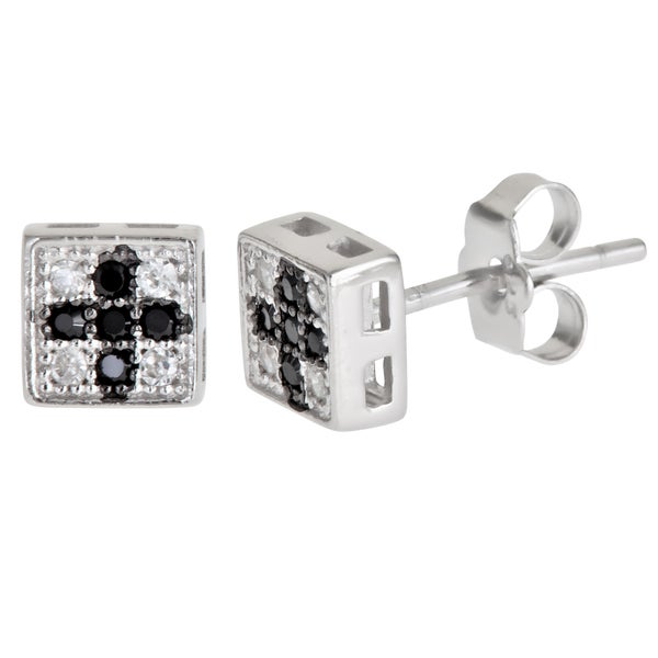 Sterling Silver Cross Dangle Earrings and a pair of 4mm CZ Stud Earrings